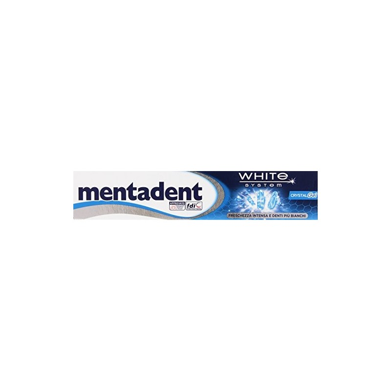 Mentadent - dentifricio sbiancante crystal gel freschezza intensiva 75 ml