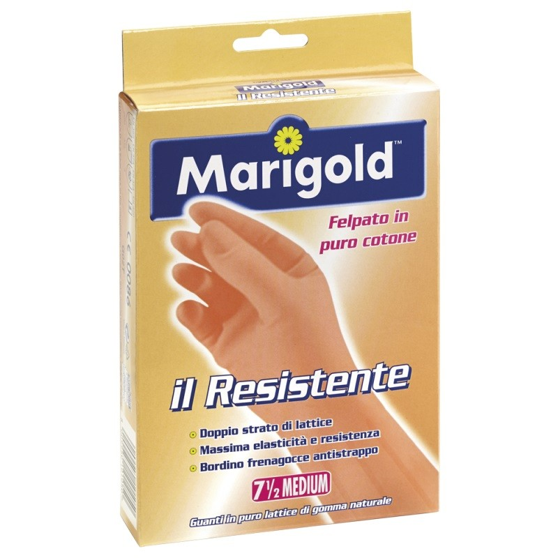 MARIGOLD - guanti resistenti in lattice felpati in cotone per uso domestico taglia media