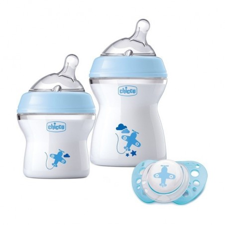 Chicco - set regalo natural feeling bimbo 2 biberon + ciuccio 0m+