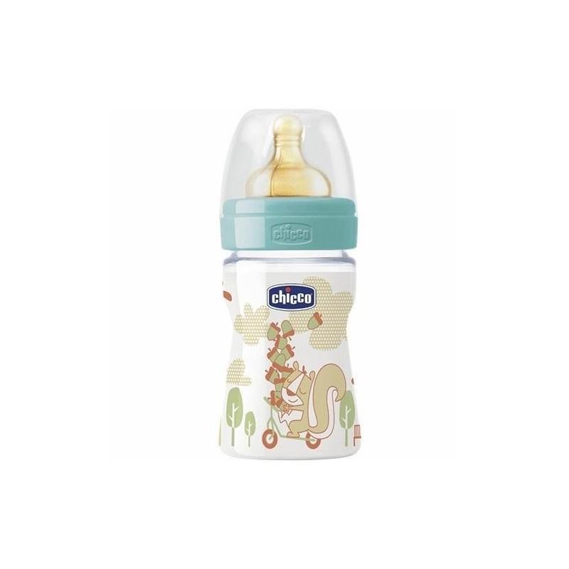 Chicco - Biberon Bottiglia In Plastica Tettarella In Caucciu' 1 Foro Romantic Linea Benessere 150 Ml