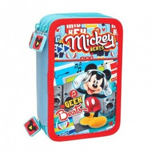mickey mouse - astuccio portapenne per la scuola 3 zip