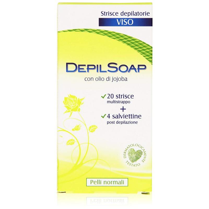 DEPILSOAP - strisce depilatorie viso pelli normali 20 strisce + fluido restitutivo post-depilazione
