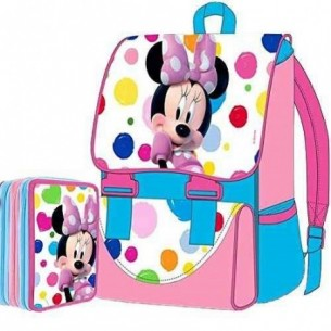 Minnie - Kit Zaino Estensibile + Astuccio 3 Zip