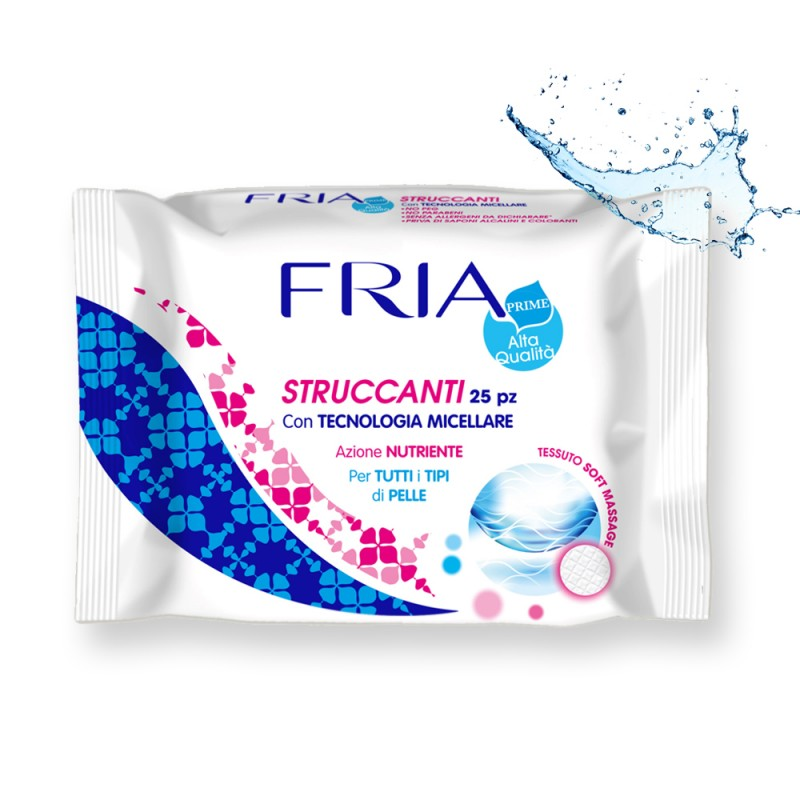 Fria - salviette struccanti e idratanti viso- occhi- labbra 1 confezione da 25 salviettine