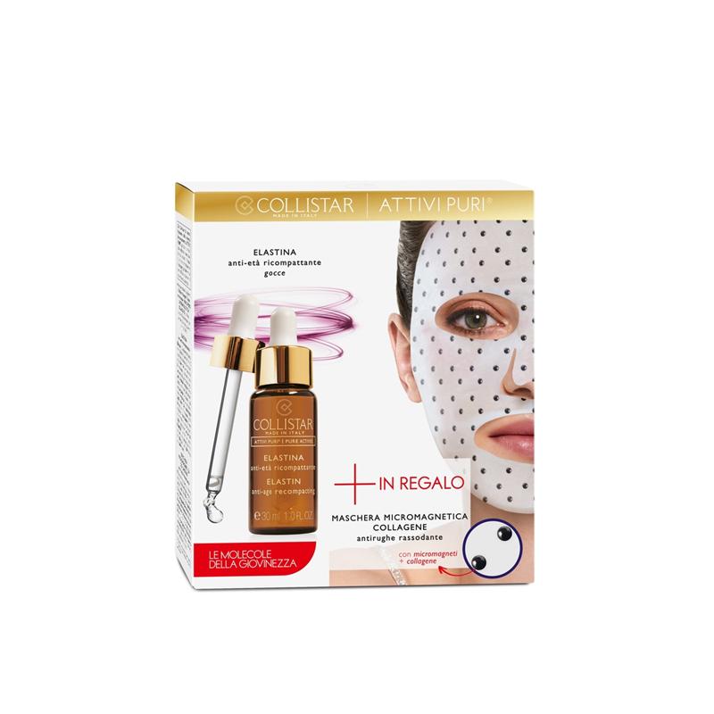 COLLISTAR - Cofanetto attivi puri - elastina gocce 30 Ml + maschera micromagnetica