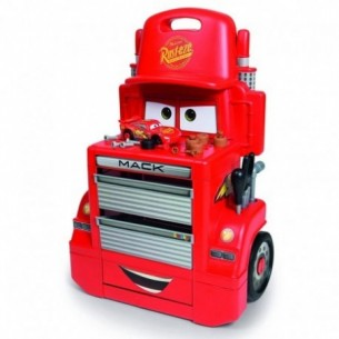 Cars 3 Mack Truck Trolley - banco officina + macchina Saetta McQueen