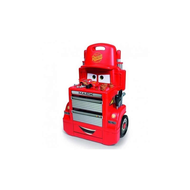 SMOBY - Cars 3 Mack Truck Trolley - banco officina + macchina Saetta McQueen