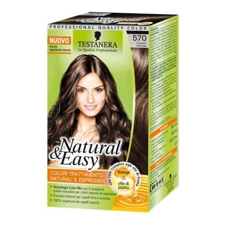Testanera - tinta per capelli colorazione permanente natural & easy n 570 castano naturale