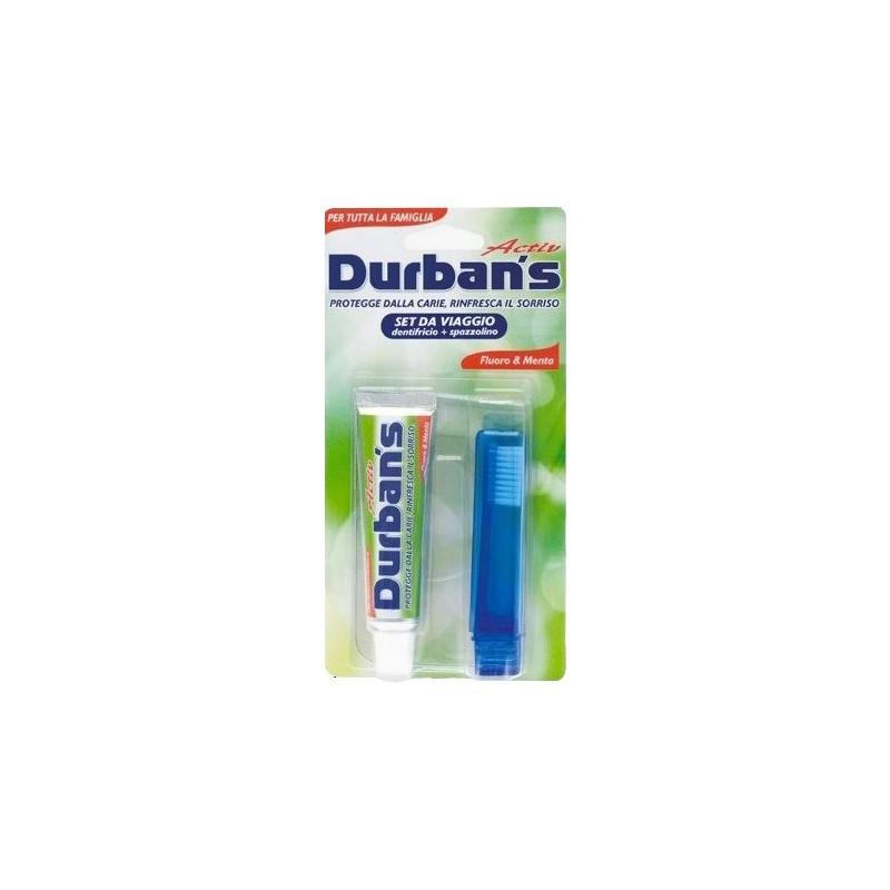 kit da viaggio tascabile spazzolino manuale + dentifricio fluoro e menta