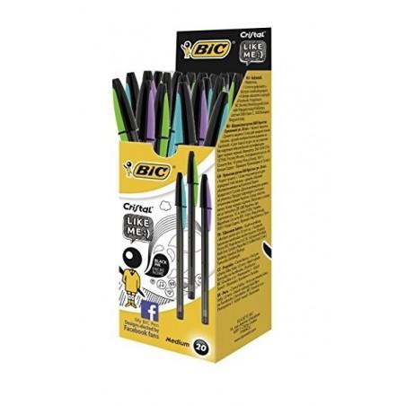 BIC - Cristal Like Me Punta Media 1 mm - confezione da 20 penne Colore Nero
