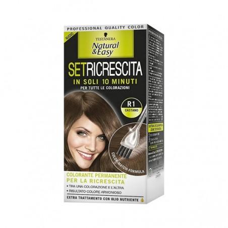 Testanera - tinta per capelli colorazione permanente natural & easy set ricrescita 03 castano