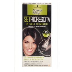 tinta per capelli colorazione permanente natural & easy set ricrescita R5 nero