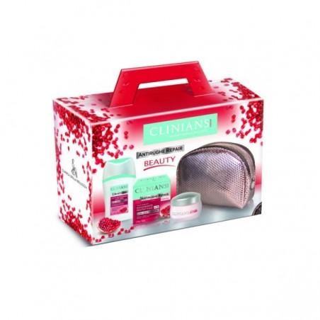 Clinians - Kit antirughe repair - crema giorno rassodante + latte detergente anti age + pochette