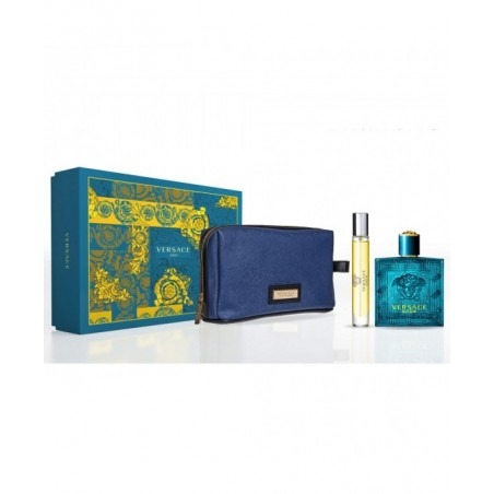 VERSACE - Eros Kit - Eau de Toilette uomo 100ml +Eau de Toilette Travel Spray 10ml + pochette