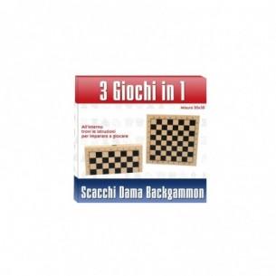 scacchi dama e backgammon - Scacchiera in legno 3 in 1