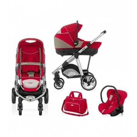 Brevi - Trio Ovo Car - Sistema Combinato carrozzina - passeggino - seggiolino auto rosso 089
