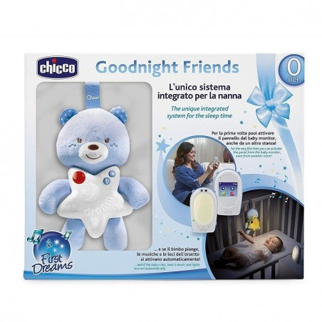 Chicco - Goodnight Friends - Baby Monitor e Peluche Luminoso Azzurro