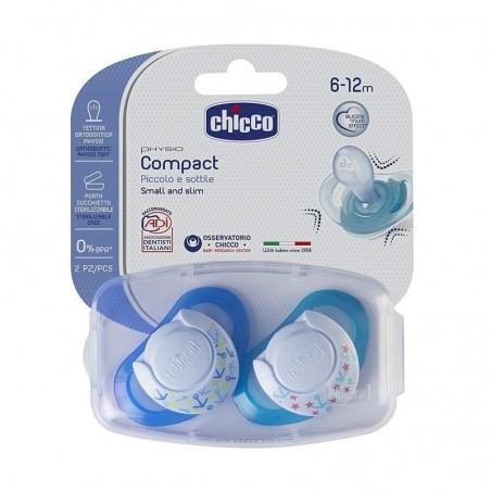 Chicco - Physio Compact - 2 Succhietti in Silicone 6-12 mesi Colori Assortiti