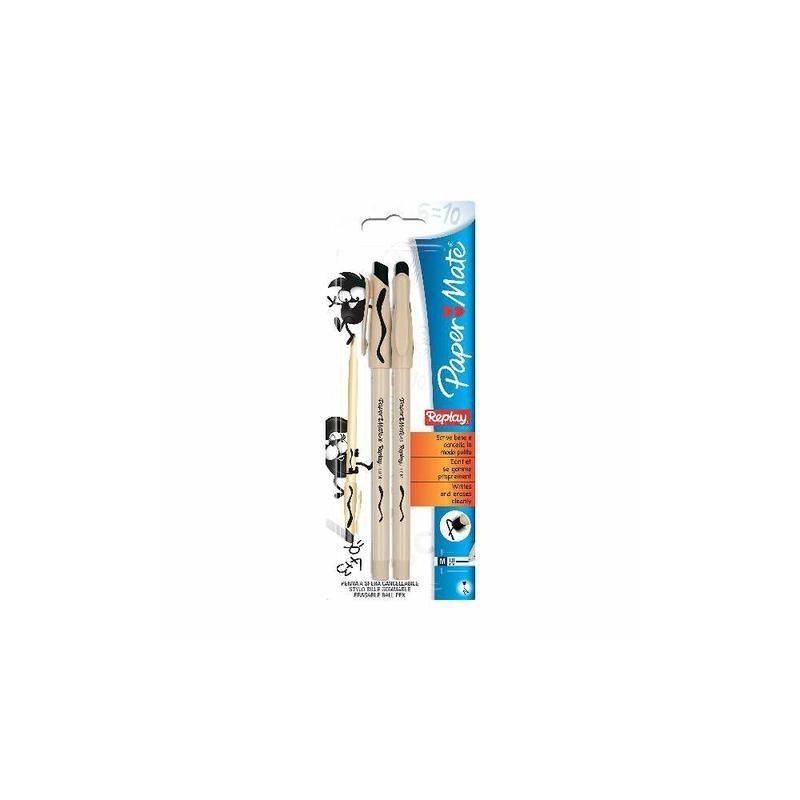 PAPERMATE - Replay Nero - 12 blister da 2 penne