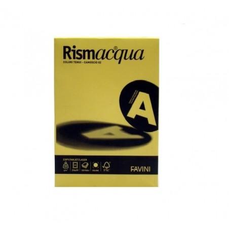 FAVINI - Rismacqua - cartoncino colorato A4 colore giallino 200 g/mq  - risma da 125 fogli