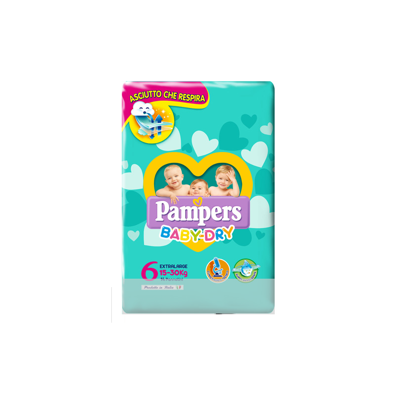 Pampers - Baby Dry - 14 pannolini XL taglia 6 (15-30 kg)