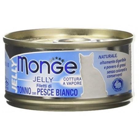 MONGE - Jelly - filetti di di Tonno con Pesce Bianco Per Gatti 25 Lattine da 80g