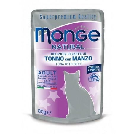 MONGE - Natural gatto - deliziosi pezzetti di Tonno e Manzo 24 buste da 80g