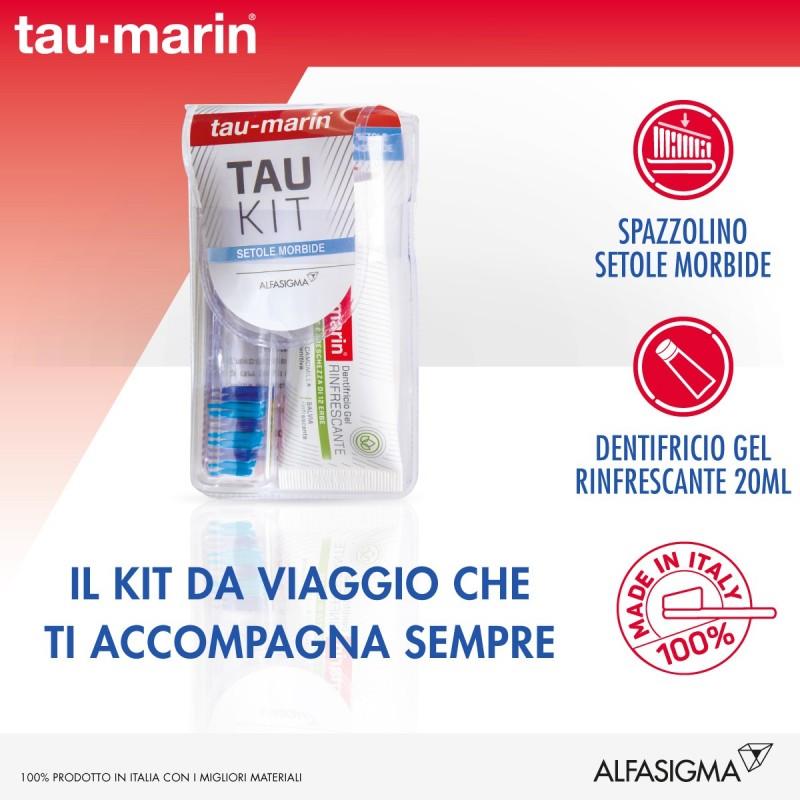 TAU-MARIN - Kit da viaggio con spazzolino setole morbide e dentifricio rinfrescante