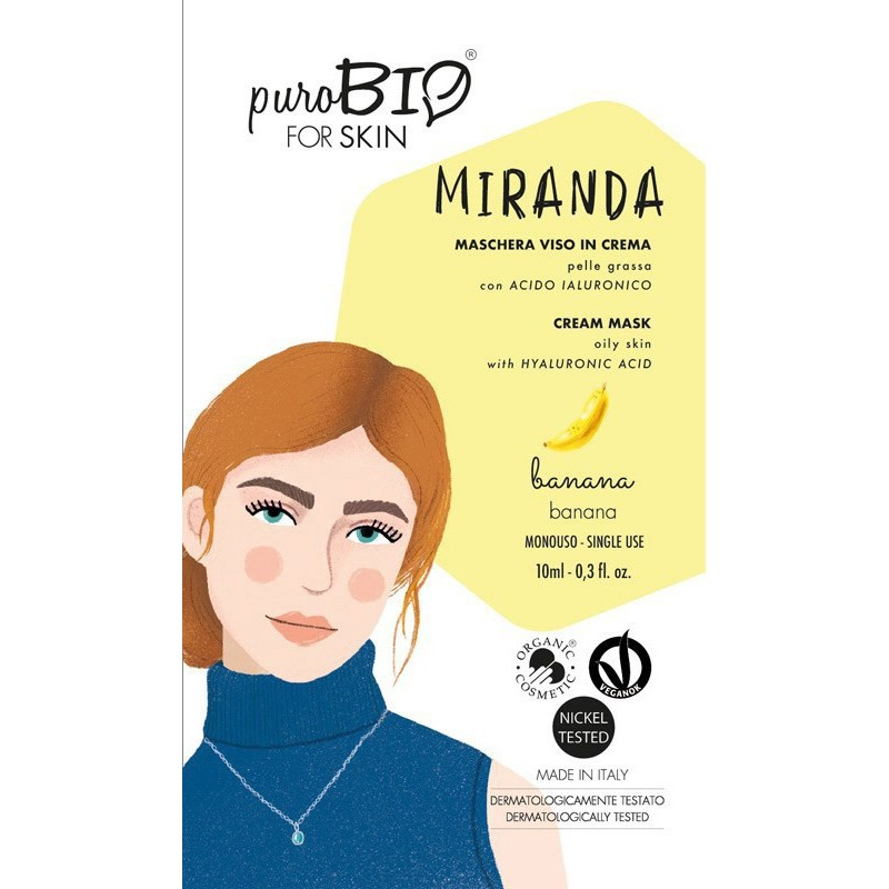 Purobio - Miranda Maschera viso in crema per Pelle Grassa profumazione banana