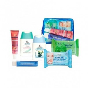 Kit viaggio - Salviettine + Detergente + Docciaschiuma + Dentifricio