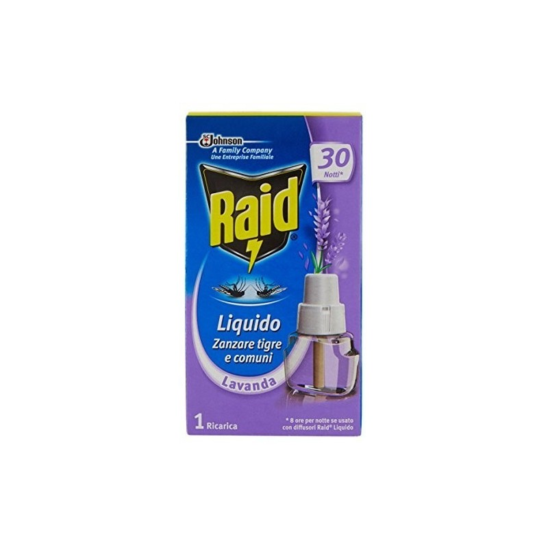 RAID - Liquido Antizanzare 30 Notti 21 ml - Ricarica alla Lavanda