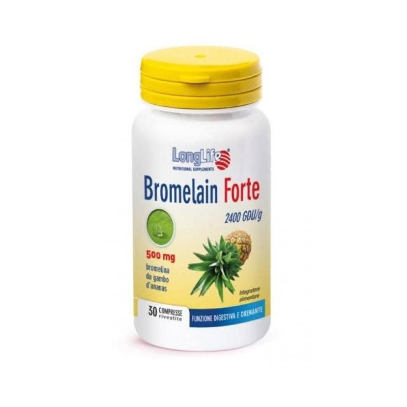 LONGLIFE - Bromelain Forte 30 Compresse - Integratore alimentare benessere dell'apparato digerente