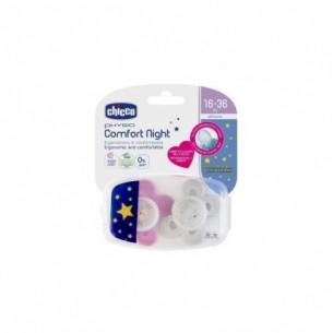 Physio Comfort night - 2 Succhietti in Silicone 16-36m rosa