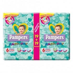 Baby Dry Extralarge Taglia 6 (15-30 Kg) - Confezione da 38 pannolini