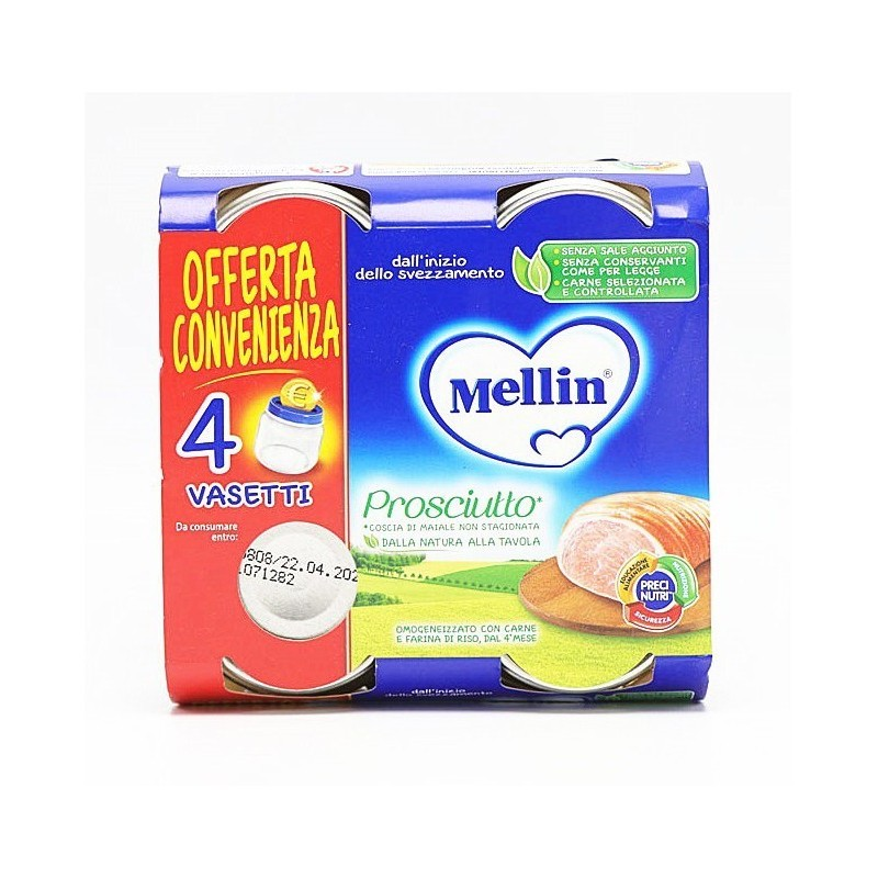 MELLIN - Omogeneizzato Prosciutto - 4 Vasetti da 80g