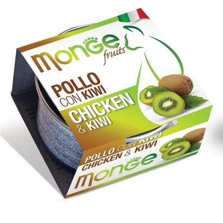 MONGE - fruits - pollo con kiwi cibo umido per gatti 24 scatolette da 80g