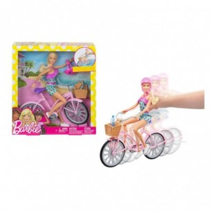 Barbie in bici con accessori