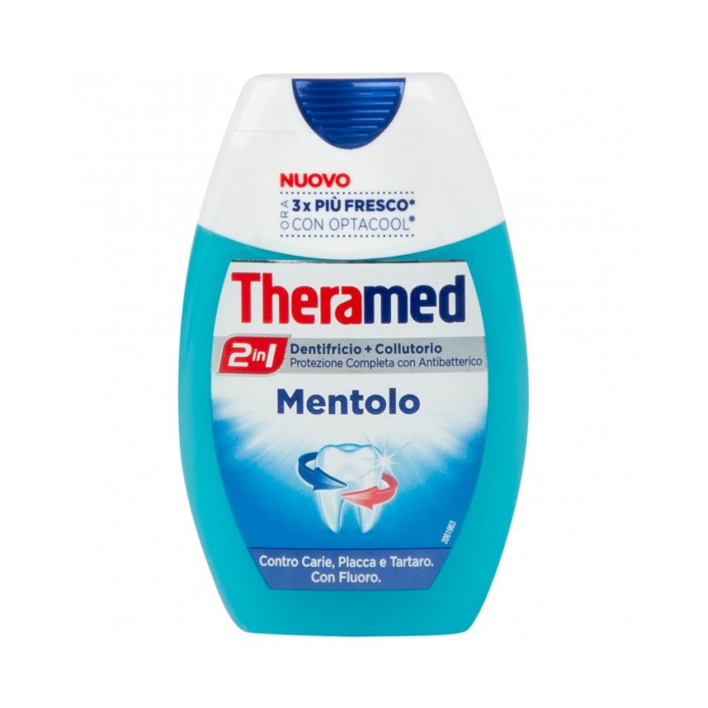 THERAMED - dentifricio + collutorio 2 in 1 mentolo - protezione completa con antibatterico 75 ml
