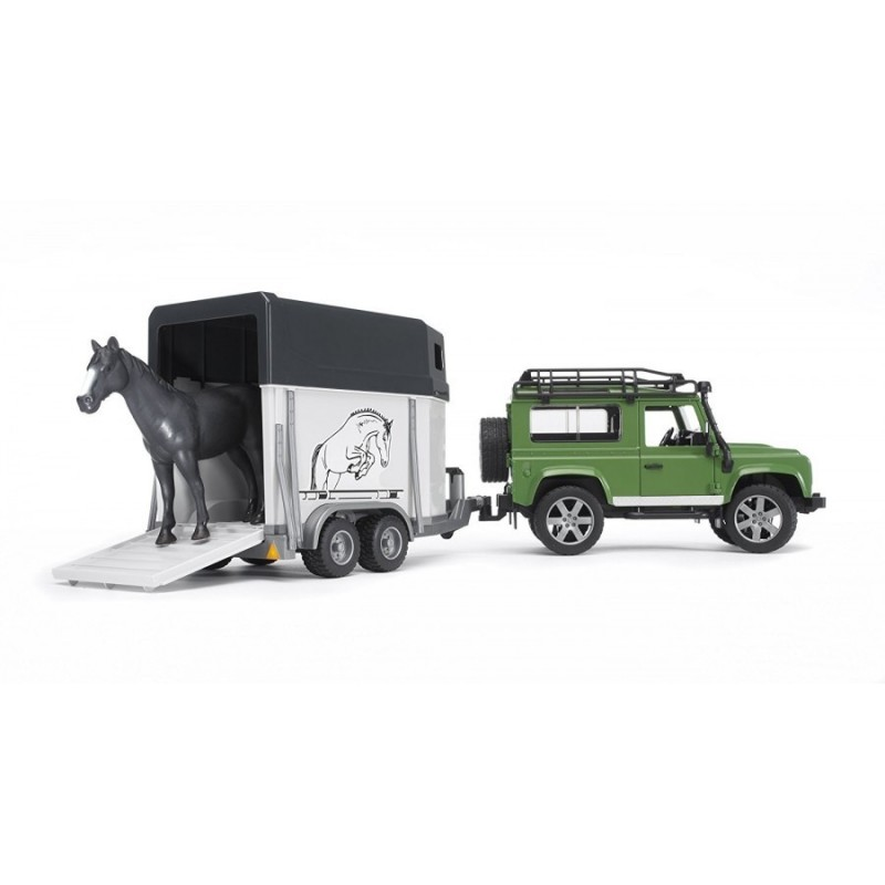 BRUDER - Land Rover Jeep Defender con rimorchio - Modellino in scala 1:16 n. 02592
