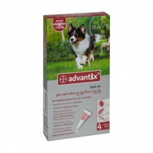 Advantix  Spot On 4 Pipette Da 2,5 Ml Per Cani Fino 25 Kg