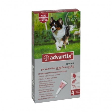 Bayer - Advantix  Spot On 4 Pipette Da 2,5 Ml Per Cani Fino 25 Kg