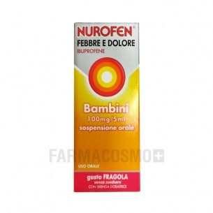 Nurofen febbre e dolore bambini 100 mg/5 ml - analgesico antinfiammatorio 150 ml gusto Fragola
