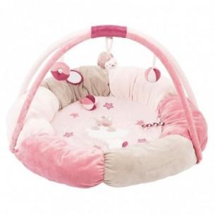 tappeto pouf rosa con palestrina