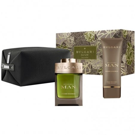 Bulgari - Wood Essence Eau de Parfum 100ml+after shave balm 100ml+Pouch - Cofanetto regalo