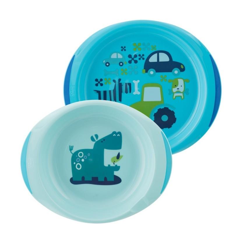 Chicco - Set piatti - piatto fondo e piano 12m+ - Azzurro