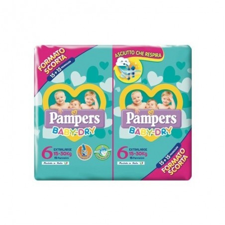 Pampers - Baby dry Extralarge - 30 pannolini Taglia 6 (15-30 Kg)