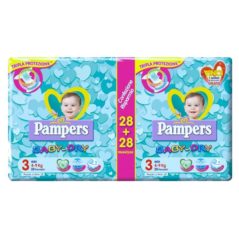 Pampers - Baby Dry - 56 Pannolini pacco doppio Misura 3 Midi 4-9 Kg