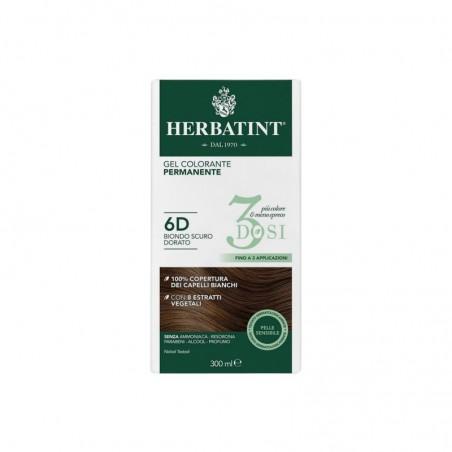 HERBATINT - 3 Dosi - Gel Colorante permanente 300 ml - 6D Biondo scuro dorato