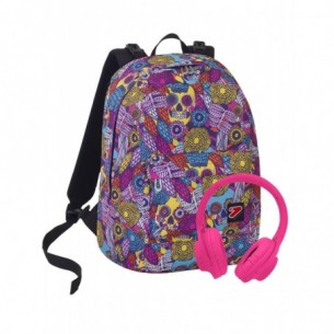 The double Skull Girl - zaino reversibile con cuffie wireless (OFFERTA SPECIALE)