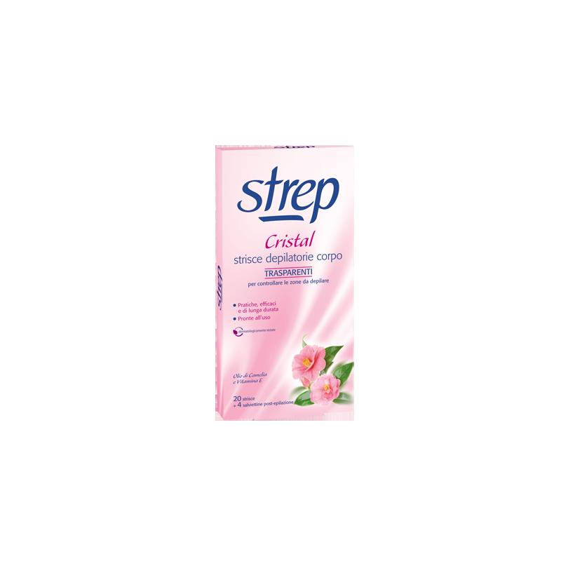 STREP - strisce depilatorie per il corpo cristal 20 strisce (Confezione Danneggiata)
